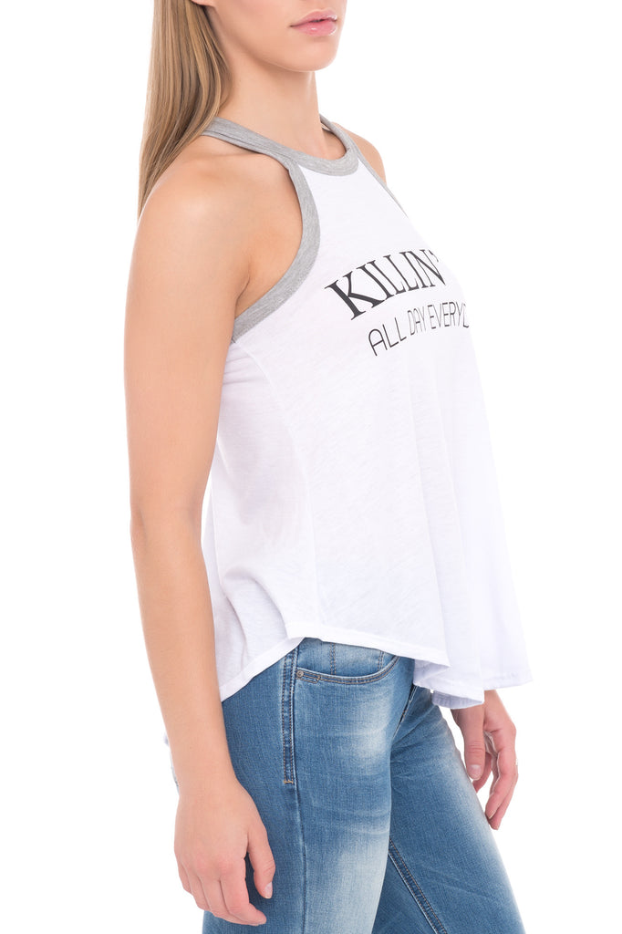 SLEEVELESS-RACER BACK GRAPHIC TANK WITH GREY PIPING - PROMO 50% OFF