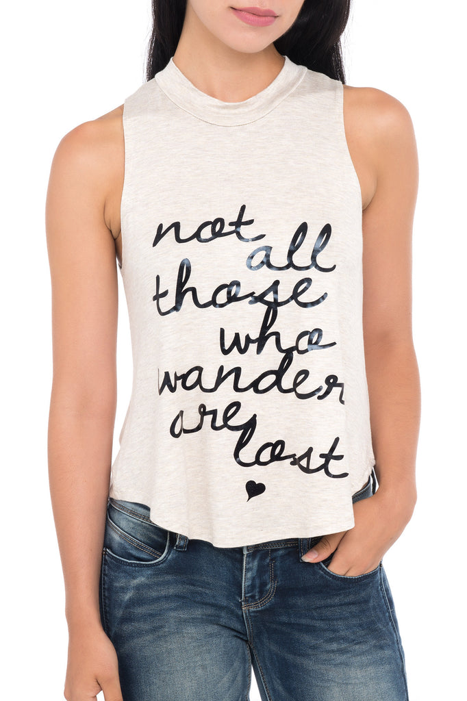 NOT ALL WHO WANDER GRAPHIC PRINT TOP