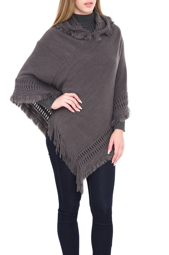 HOODED PONCHO WITH FRINGE