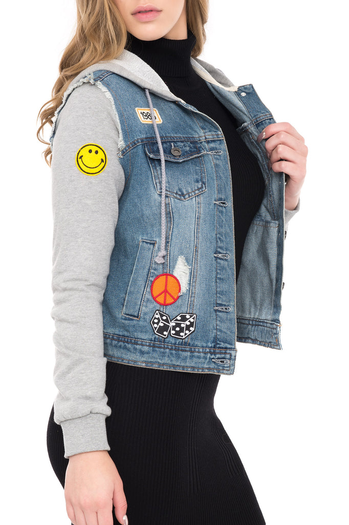 HOODED DENIM JACKET WITH RIPS AND COLORFUL PATCHES