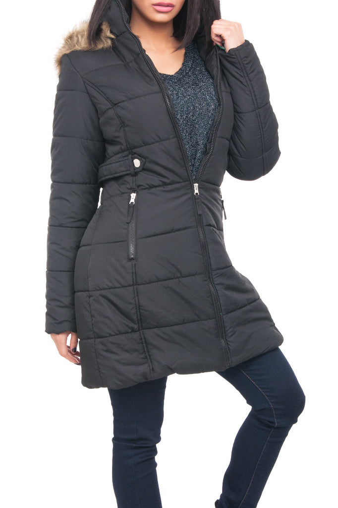 HOODED ZIP UP QUILTED JACKET WITH FAUX FUR TRIM