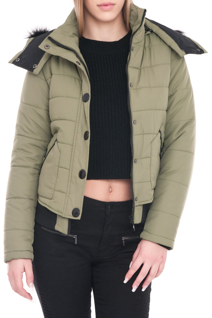 QUILTED HOODED JACKET WITH FAUX FUR
