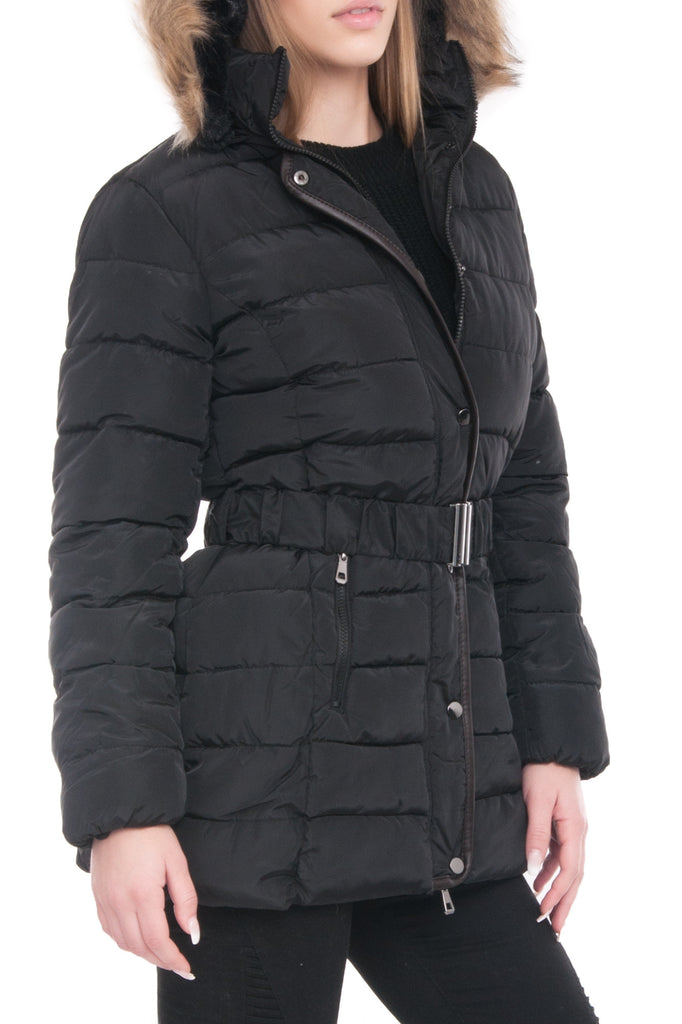 BELTED FAUX FUR TRIM QUILTED PARKA