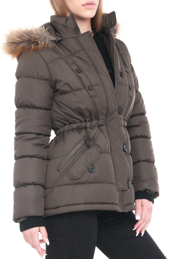 CINCHED WAIST QUILTED PARKA WITH FAUX FUR TRIM