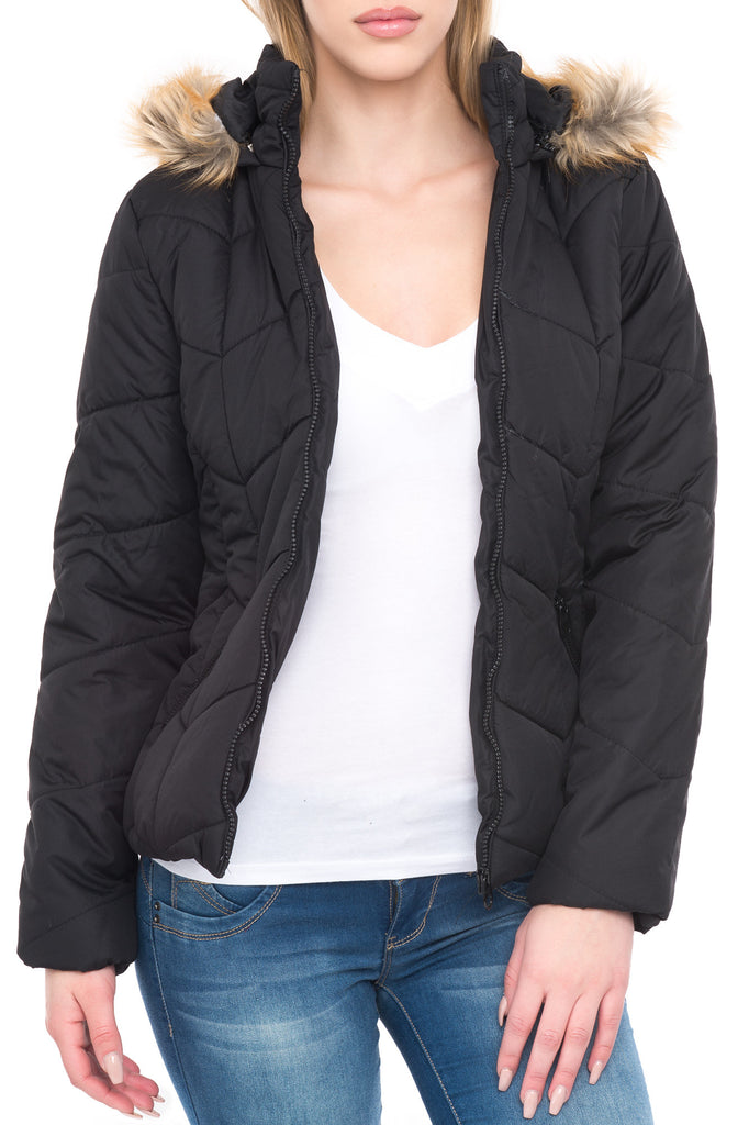 HOODED QUILTED JACKET WITH FAUX FUR TRIM