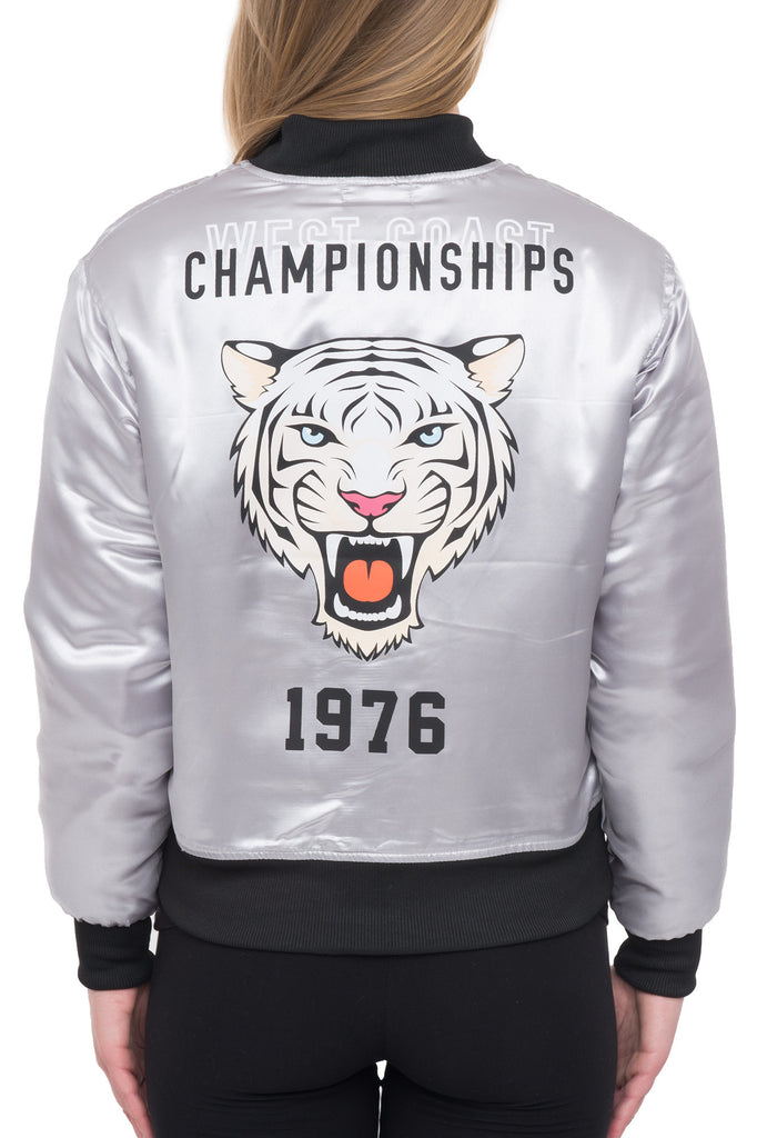 SATIN BOMBER WITH TIGER PATCH - STYLE STEALS