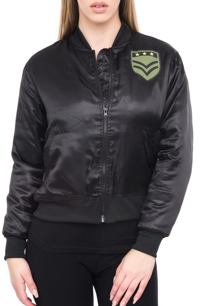SATIN BOMBER WITH PATCHES - STYLE STEALS