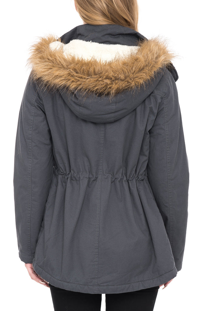 HOODED JACKET WITH FAUX FUR LINING AND CINCHED WAIST