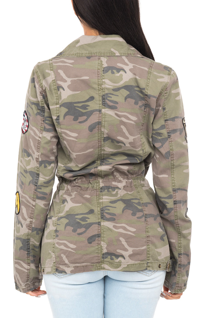 CAMO JACKET WITH CINCHED WAIST AND COLORFUL PATCHES