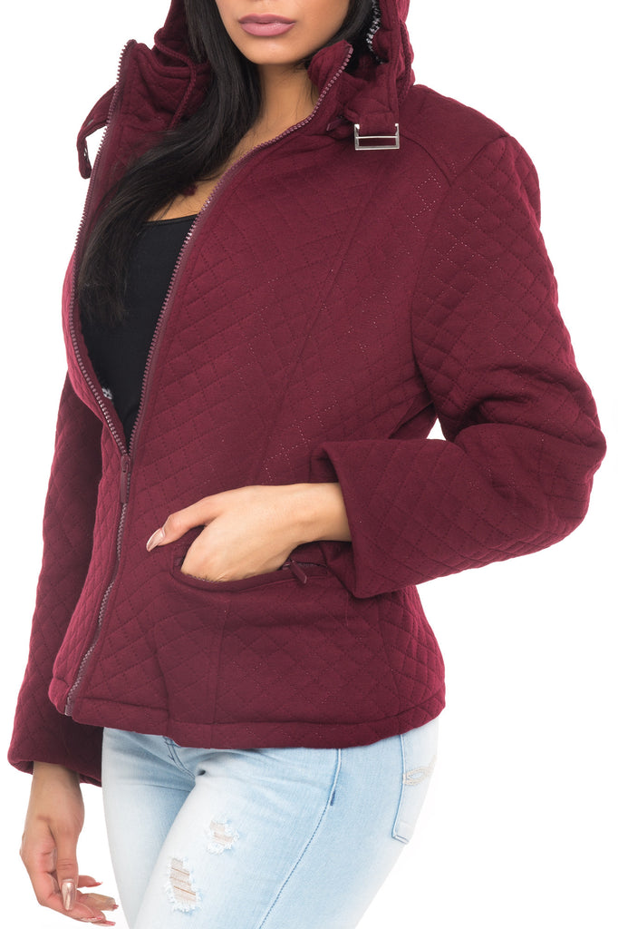 QUILTED FLEECE HOODED JACKET
