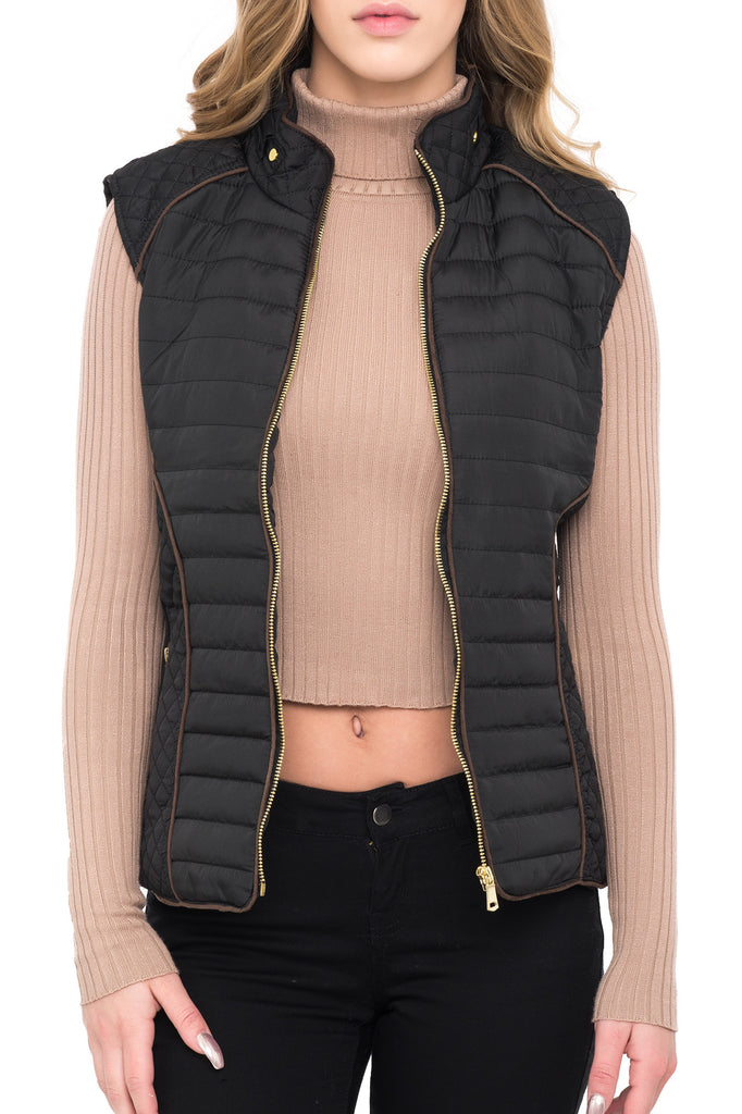 YMI QUILTED SLEEVELESS VEST WITH FAUX FUR LINING
