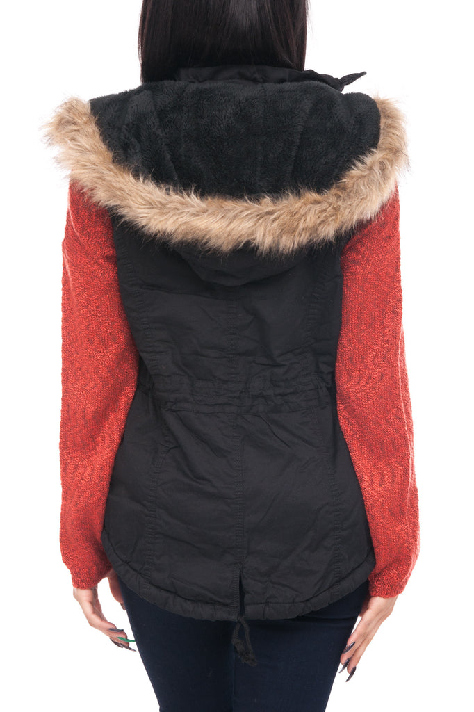 SLEEVELESS HOODED ANORAK WITH FAUX FUR LINING AND TRIM