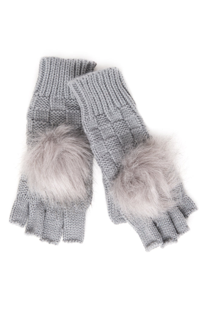 CUT OFF GLOVES WITH FAUX FUR POM POM