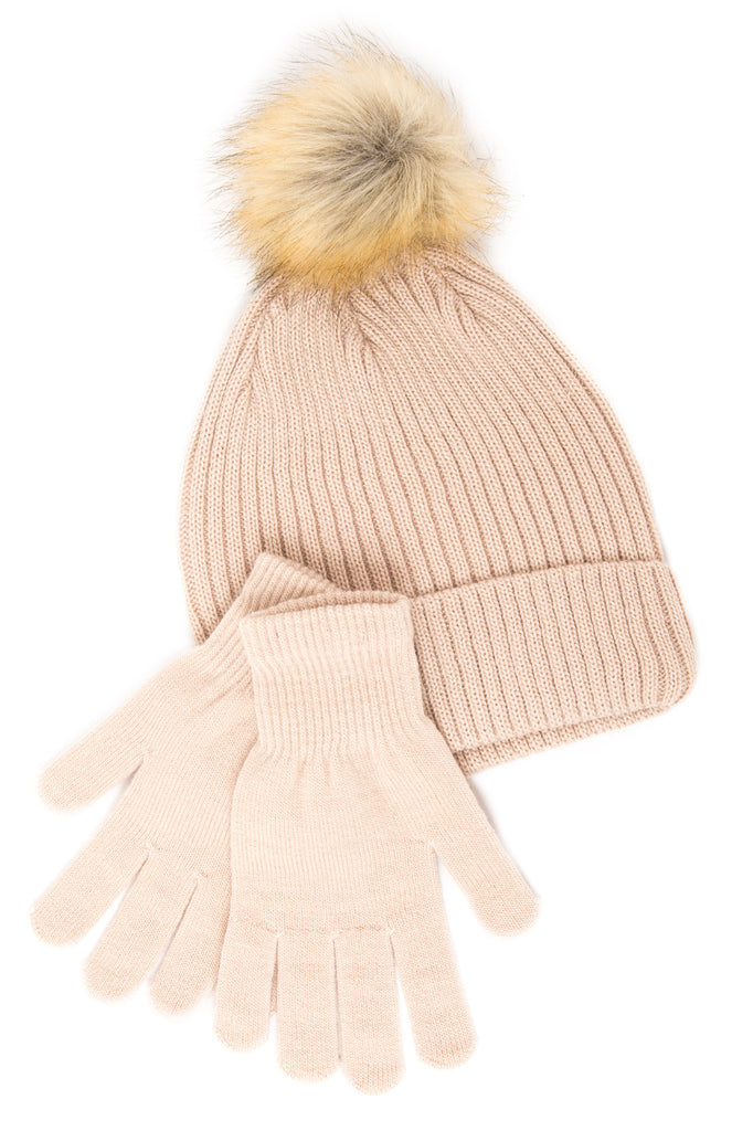 FAUX FUR POM BEANIE HAT SET