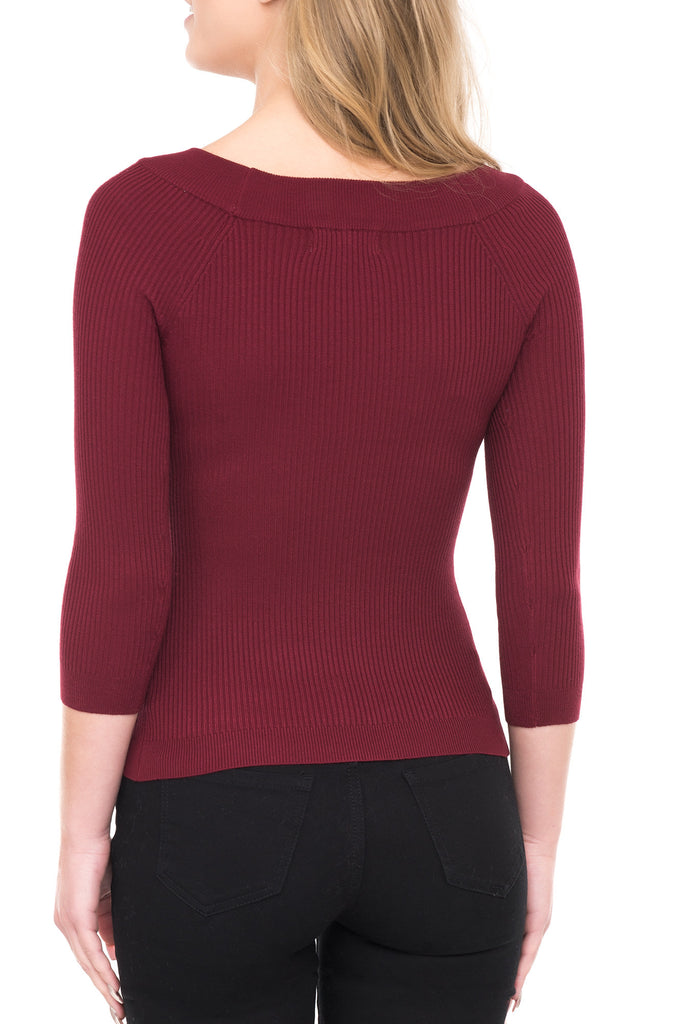 LONG SLEEVE FORM FITTING BOAT NECK SWEATER