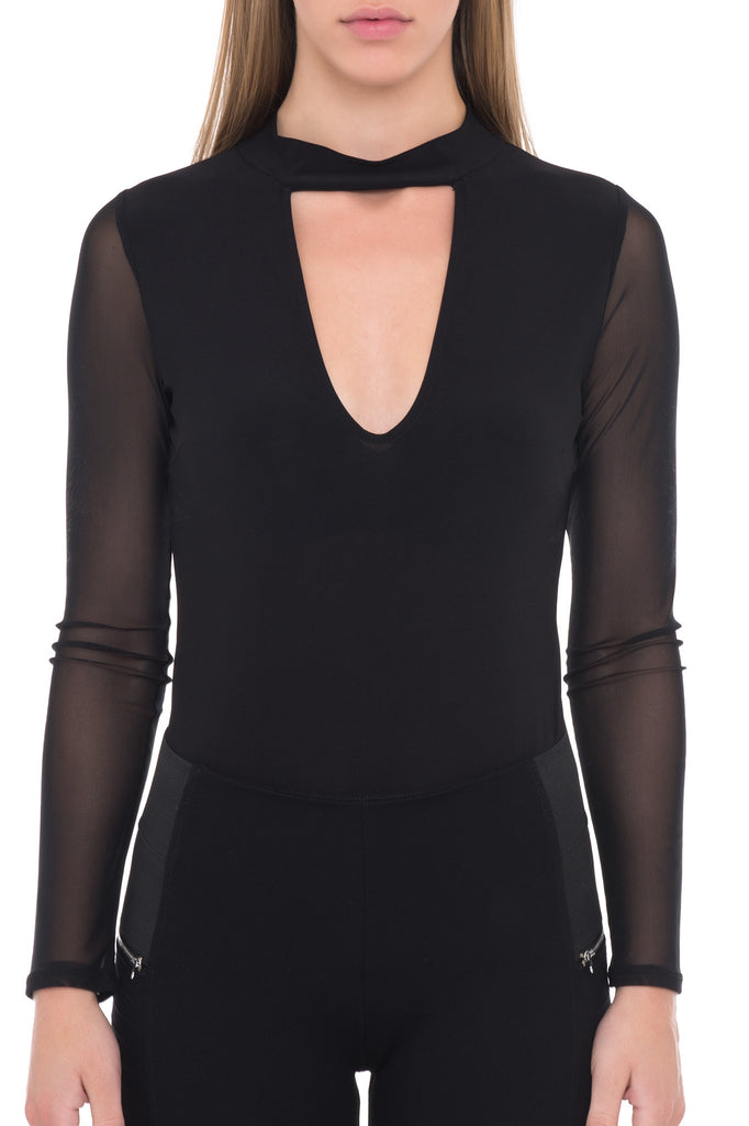HIGH NECK KEYHOLE LONG SLEEVE BODYSUIT WITH SNAPS