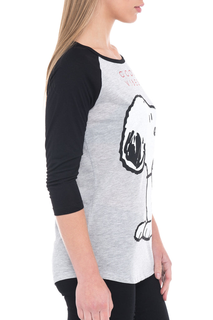 SNOOPY GRAPHIC RAGLAN TEE
