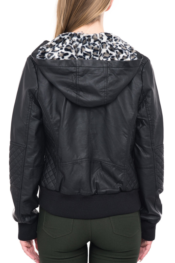 C91 MOTO JACKET WITH ANIMAL PRINTED FAUX FUR LINING
