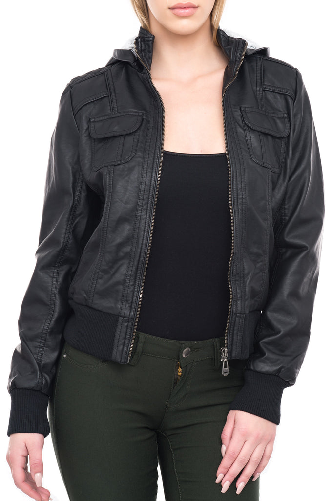 C91 QUILTED FAUX FUR LINED MOTO JACKET