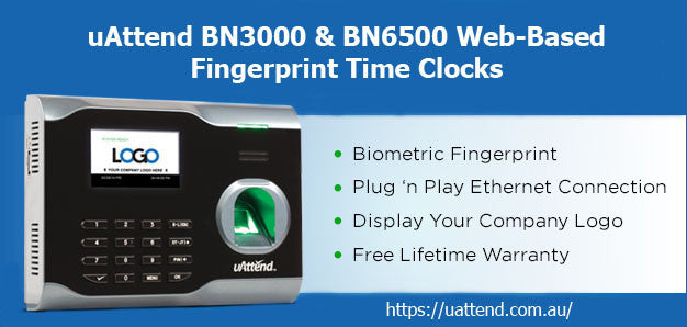 The two models of fingerprint time clocks available at uAttend