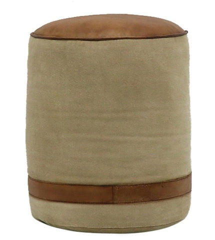 Leather & Canvas Pouf