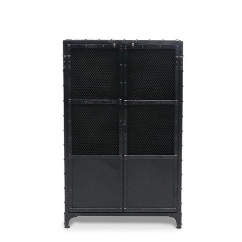 Iron Bank Cabinet with Mesh Doors