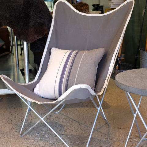 Butterfly Chair- galvanized steel frame, grey canvas cover