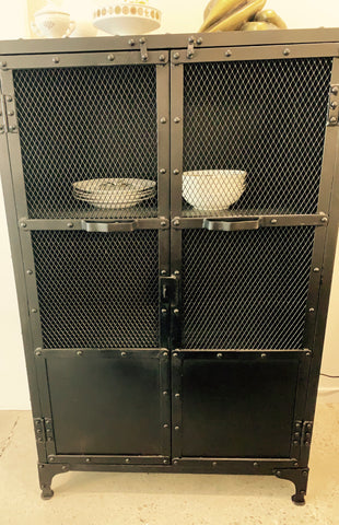 Bank Iron Cabinet with Mesh Doors - NEW!