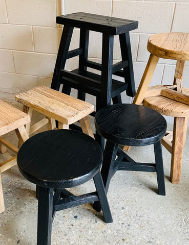 Recycled Elm Stools Round avail in Black or Natural