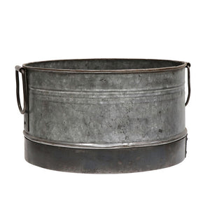 Industrial Flint Round Iron Planter