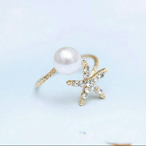STAR AND SIMULATED PEARL RING -  - 1