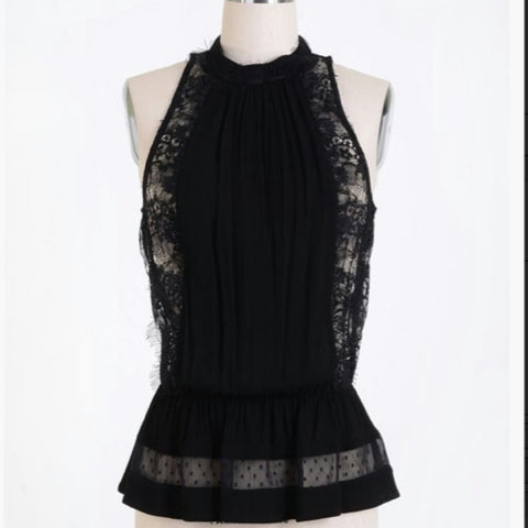 BLACK LACE PEPLUM TOP -  - 1