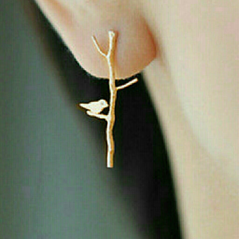 GOLD BIRD ON A LIMB EARRINGS -  - 1