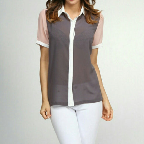 GRAY, WHITE, AND TAN CHIFFON BLOUSE -  - 1