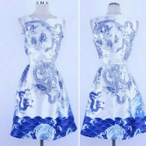 BLUE AND WHITE DRAGON PRINT DRESS - Wendi's Boutique and Resale - 1