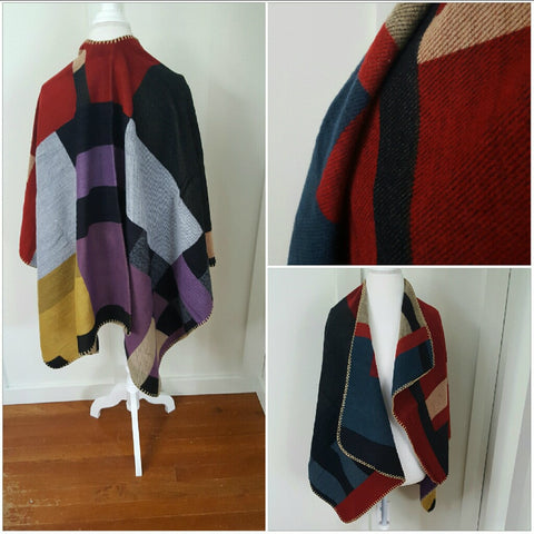 COLOR BLOCK ASYMMETRICAL AUTUMN COLORED PONCHO -  - 1