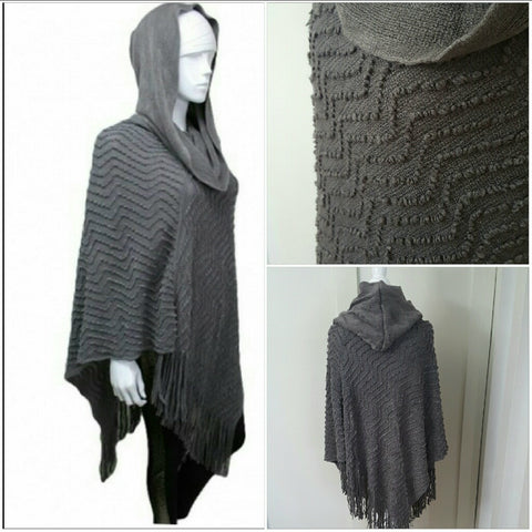 GRAY CHEVRON DETAILED HOODED CLOSED PONCHO -  - 1