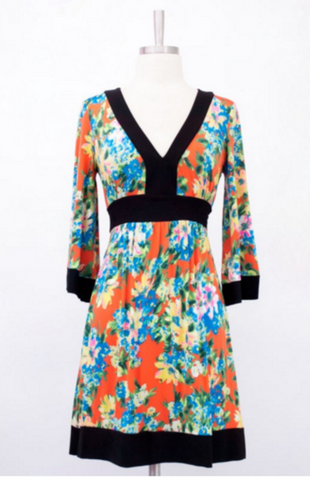 V-NECK KIMONO STYLE DRESS ORANGE AND BLUE -  - 1