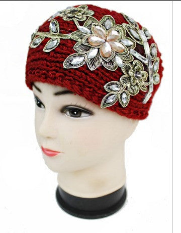BURGUNDY FLOWER BEJEWELED BOUQUET KNIT HEADBAND - Wendi's Boutique and Resale