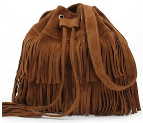 RETRO FAUX SUEDE FRINGE SHOULDER BUCKET BAG IN MULTIPLE COLORS - Wendi's Boutique and Resale - 1
