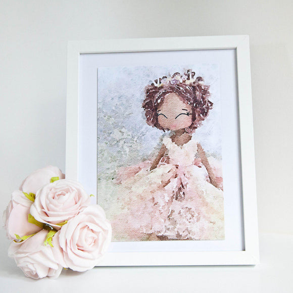 Vintage Doll Watercolour Art Print Upper Dhali
