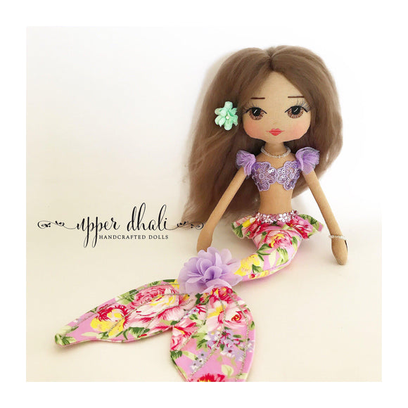 mermaid doll, handmade doll, melody, upper dhali