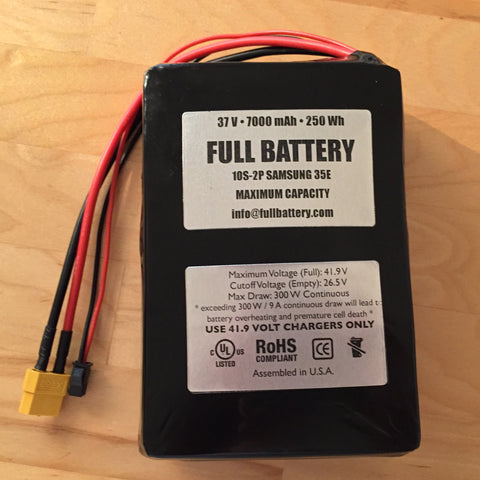 37V Lithium Battery Pack with BMS • 10s2p 18650 Li-Ion • Flat format