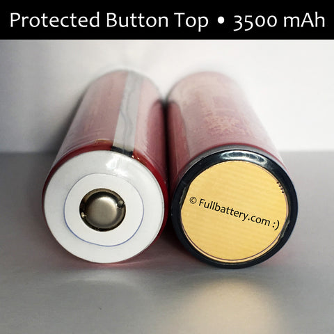 NCR18650GA Protected Button Top 18650 lithium cell; 5A, 3500 mAh