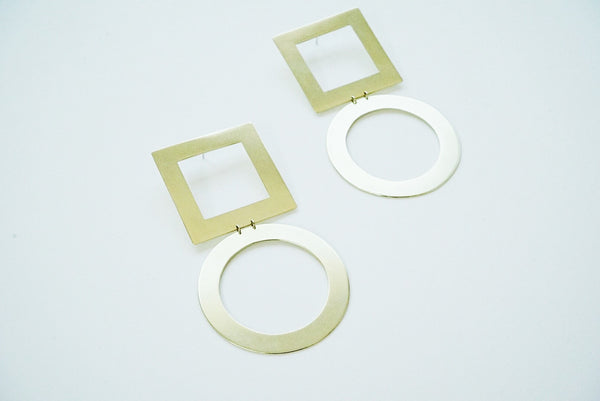 Square + Circle Statement Earrings