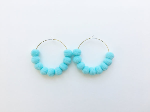 Pom Pom Hoops in Tanager Turquoise