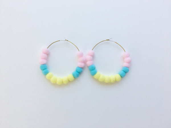 Pom Pom Hoops in Small Multi-Colored