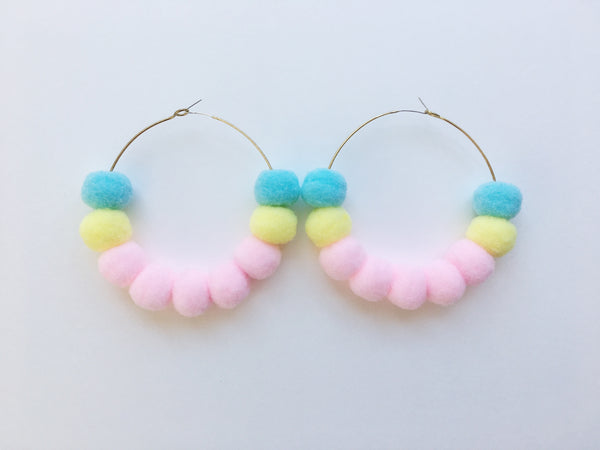 Pom Pom Hoops in Large Multi-Color