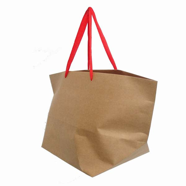 Paper Bag with Red Rope Handle 250X470X210mm Basket AR8004RDBN