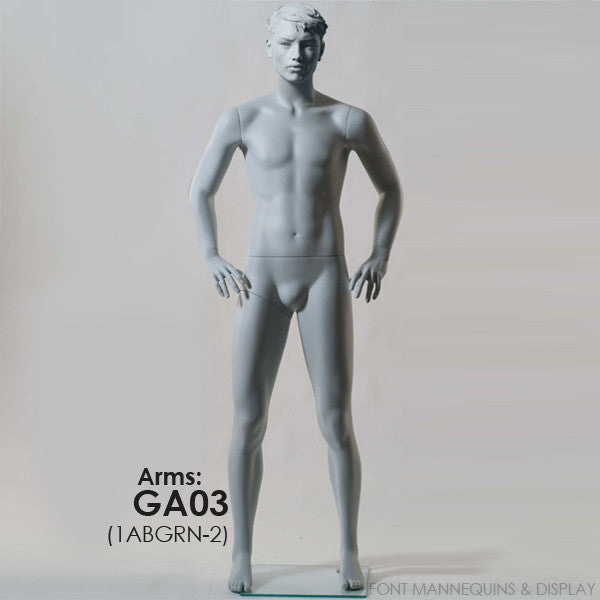 European Made Male Sculpted Mannequin Ga03, Arm Ga04, Head 1, Ral9001, Glass Square Base 1ABGRN-2